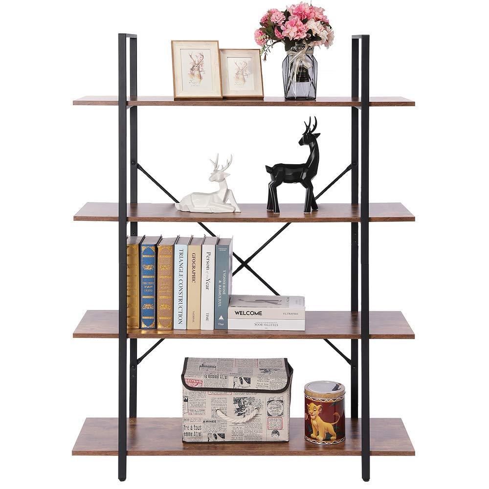 APRILIFE Wooden 4-Tier Bookshelf, Bookcase with Metal Frame, Storage Rack Shelves, Display Shelving for Living Room, Bedroom, Easy Assemble, Rustic Brown