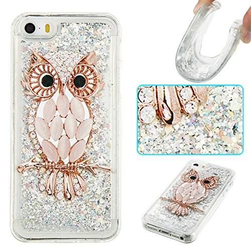 (iPhone 5S Case,iPhone SE Case,Gift_Source Luxury Bling Glitter Sparkle Flowing Liquid Quicksand Design Soft Rubber Gel Cover TPU Bumper Case for iPhone SE/5/5s [Diamond Owl])
