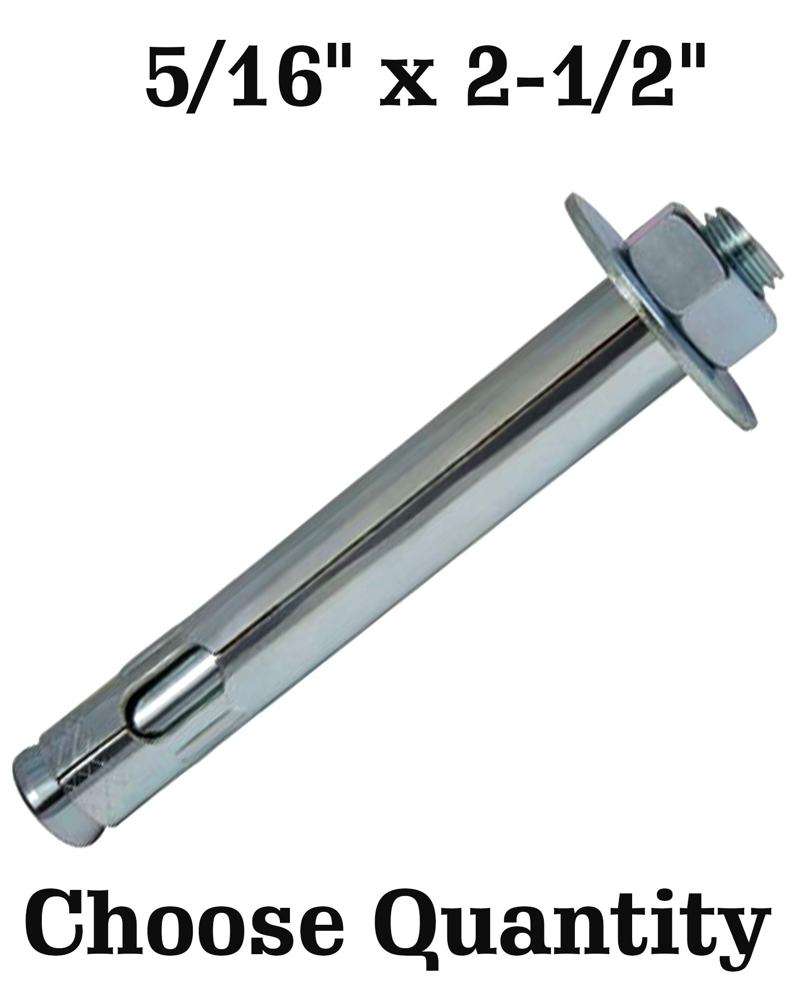Sleeve Anchor 5/16-Inch by 2-1/2-Inch - Hex Head Sleeve Anchors Concrete Bolts Concrete Sleeve Anchors (100)