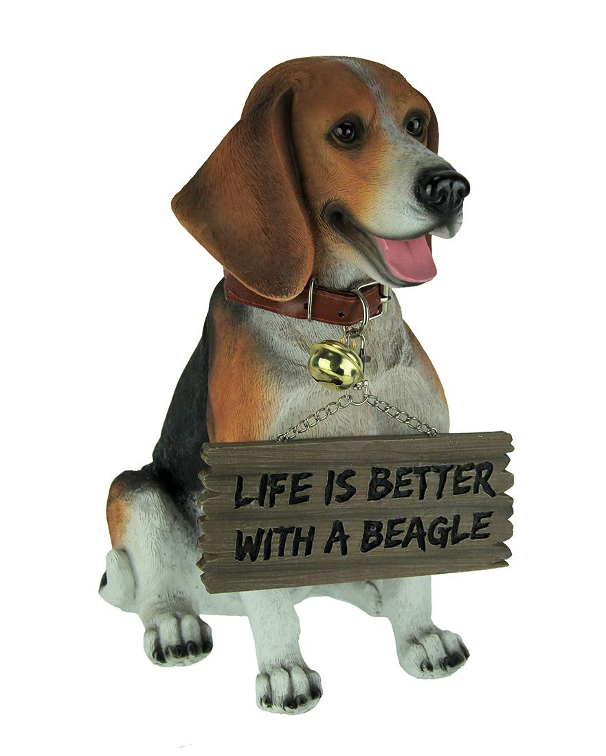 World Of Wonders Resin Outdoor Statues Buddy The Beagle Dog Statue with Reversible Sign 9.5 X 11.25 X 6.25 Inches Brown