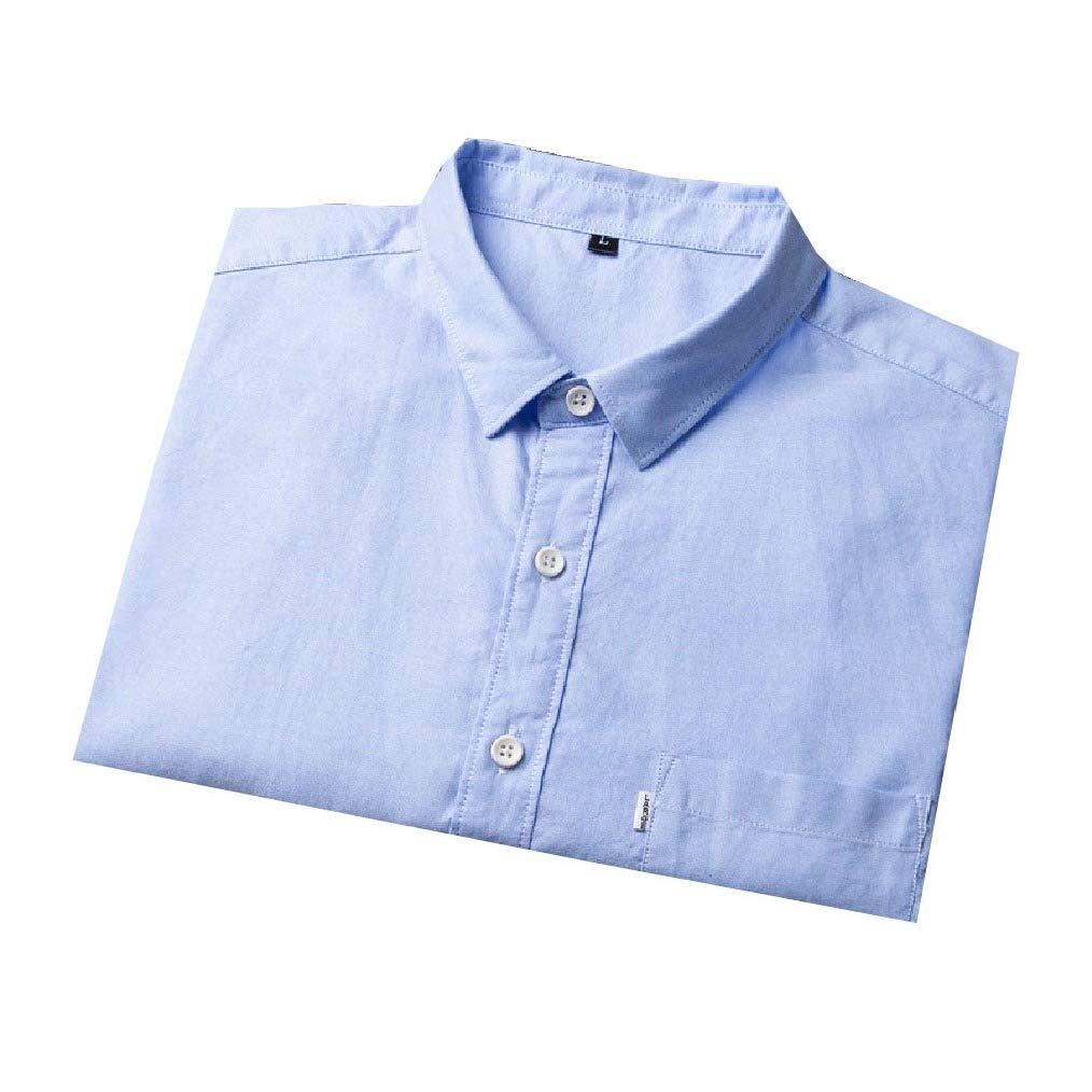 Vska Men Cotton Lapel Leisure Summer Half Sleeve Button Down Dress Shirt
