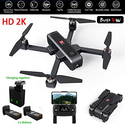 MJX Bugs 4W Foldable Drone with GPS, FULL HD 2K 5G WiFi Camera Record Video Bugs GO App Operation Altitude Hold Track Flight 3400mAh Battery Double ...