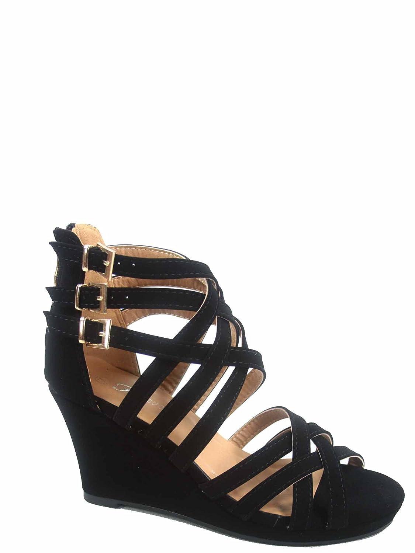 Forever Link Sammy-76 Womens Zipper Buckles Strappy Open Toe Wedge Platform Sandal Shoes US, Black 8 B M