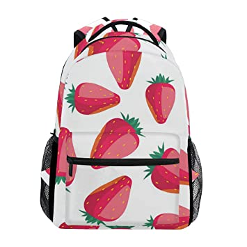 909ccb92f8 Amazon.com  Simple Red Big Strawberry Large Travel Outdoor Sports ...