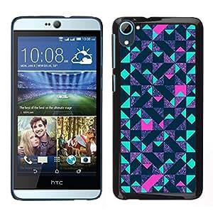 LECELL--Funda protectora / Cubierta / Piel For HTC Desire D826 -- polígono azul púrpura del modelo de color rosa --