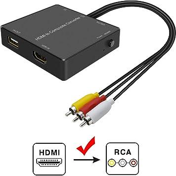 Amazon.com: Convertidor HDMI a AV, convertidor HDMI a RCA ...