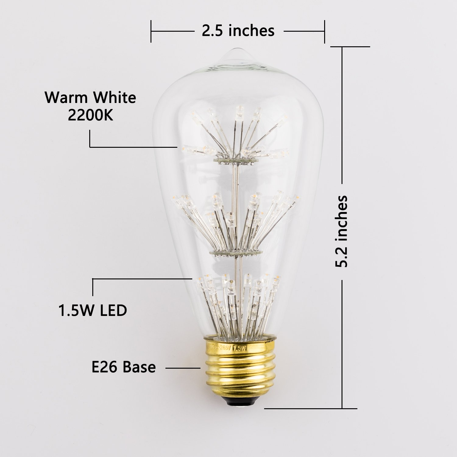 Vintage Starry Edison Led Light Bulb Coidak Antique Decorative Emitting Diode Circuit Of The Temperature Control Squirrel Cage E26 St64 15w 2400k Warm White Not Dimmable