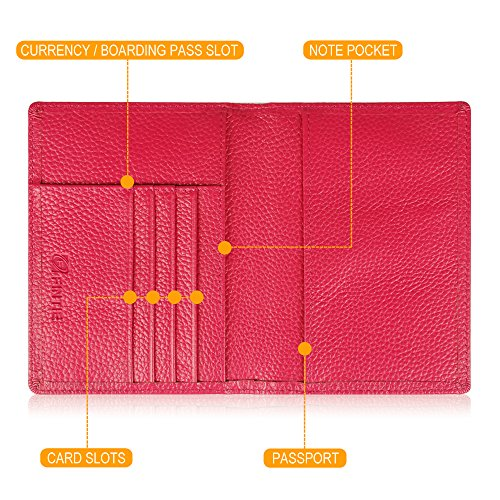 Fintie Passport Holder Travel Wallet - Premium Vegan Leather RFID Blocking Case Cover - Securely Holds Passport, Business Cards, Credit Cards, Boarding Passes, Magenta