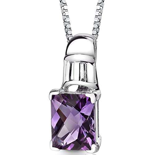 Amethyst Pendant Necklace Sterling Silver Rhodium Nickel Finish 2.75 carats Radiant Cut