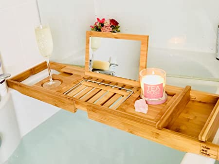 Bath Caddy 100% Natural Bamboo Bath Tray WITH MIRROR by Relax and ...