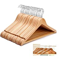 20 Pack Grade A Wood - Wooden Hangers HANGERS COAT SUIT GARMENT CLOTHES WARDROBE WOOD HANGER TROUSER BAR SET - Pack of 20 Hangers - By Guilty Gadgets