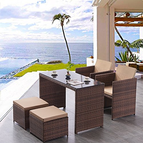 Baochen Outdoor Patio Dining Set Wicker Furniture Set