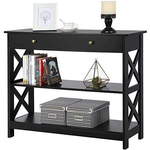 Yaheetech Console Sofa Table Classic X Design with Drawer and 3 Tier Storage Shelves – Entryway Hall Table Bookshelf Display Rack for Living Room Office Furniture