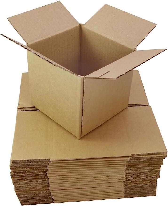 25 pequeño marrón cajas de cartón ondulado de cartón 3 x 8 x 20,32 cm/200 x 200 mm 20,32 cm cubos de plástico para envíos postales de color lista de cuadrado cajas