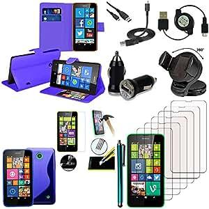 Vcomp® Nokia Lumia 630/635/638: Lot–Funda–carcasa Pochette Ferroviario silicona soporte cargador coche Films vidrio templado lápiz cartera soporte Video–Azul oscuro