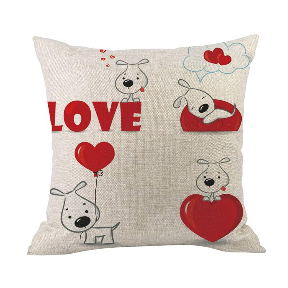 Cyhulu Kawaii 18x18 Inch Quote Throw Creative Cartoon Heart Print Square Pillow Case Cushion Cover Lover Gifts for Happy Valentine's Day Home Bed Sofa Living Room DIY Decoration (B, One size)