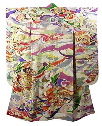 オーストラリア育成有能なリサイクル 振袖 菊と牡丹 裄66cm 身丈164cm 正絹 袷