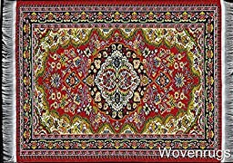 Colorful Red Woven Rug Mouse Pad - Oriental Design Carpet Computer Mousemat with Support