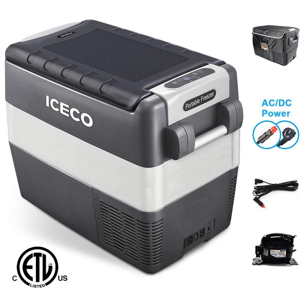 ICECO JP50 12v Portable Freezer Fridge Cooler, 53 Quart (50 Liter) Compact Refrigerator, DC 12/24 V, AC 100-240V, For CAR, Truck, Vehicle, Van, Outdoor, Camping, Picnic, 0℉~50℉