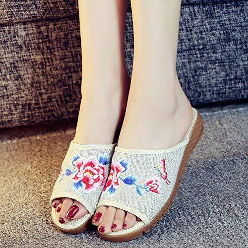 Fuxitoggo Bestickte Schuhe sehnen Sohle ethnischer ethnischer ethnischer Stil weiblicher flip Flop Mode bequem Sandalen beige 36 (Farbe   - Größe   -) da6e61
