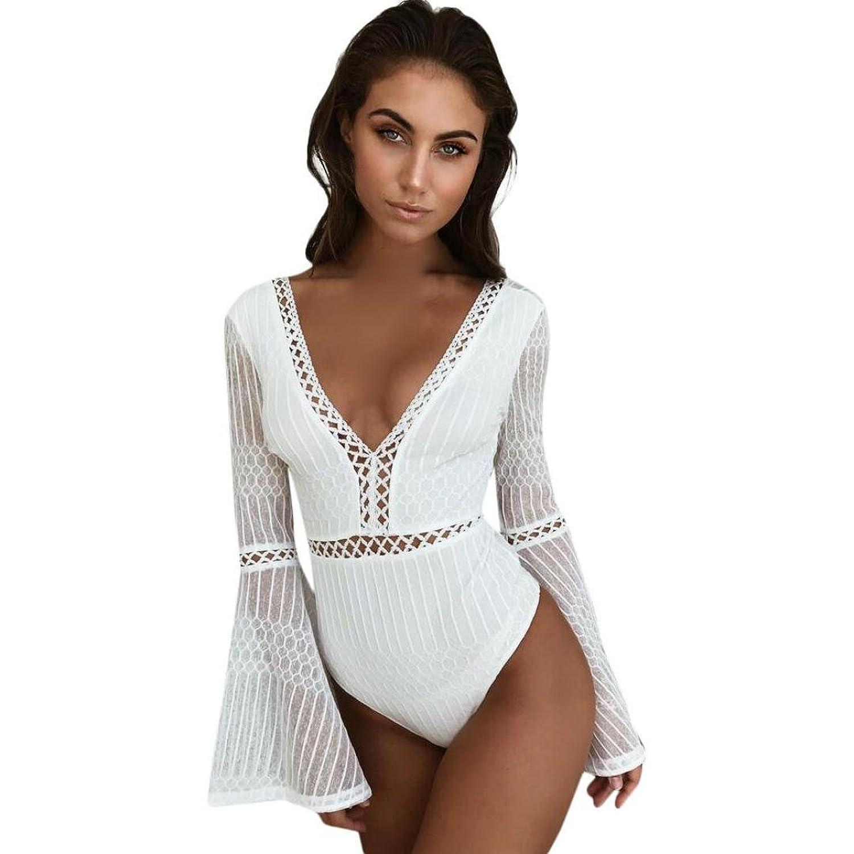 ZARLLE 2018 Moda Mono Las Mujeres De Cuello En V De Encaje Sin Espalda Blanco Hueco - Hacia Fuera Flare Sleeve Jumpsuit Bodysuits: Amazon.es: Ropa y ...
