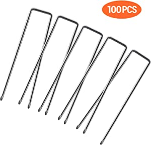 Ohuhu 100 Pack 6 Inch Garden Staples, 11-Gauge Rust Resistant Heavy Duty Steel Garden Stakes, Sod Fence Pins Ground Stakes for Anchoring Landscaping, Ground Cover, Halloween Yard Lawn Decor Stakes