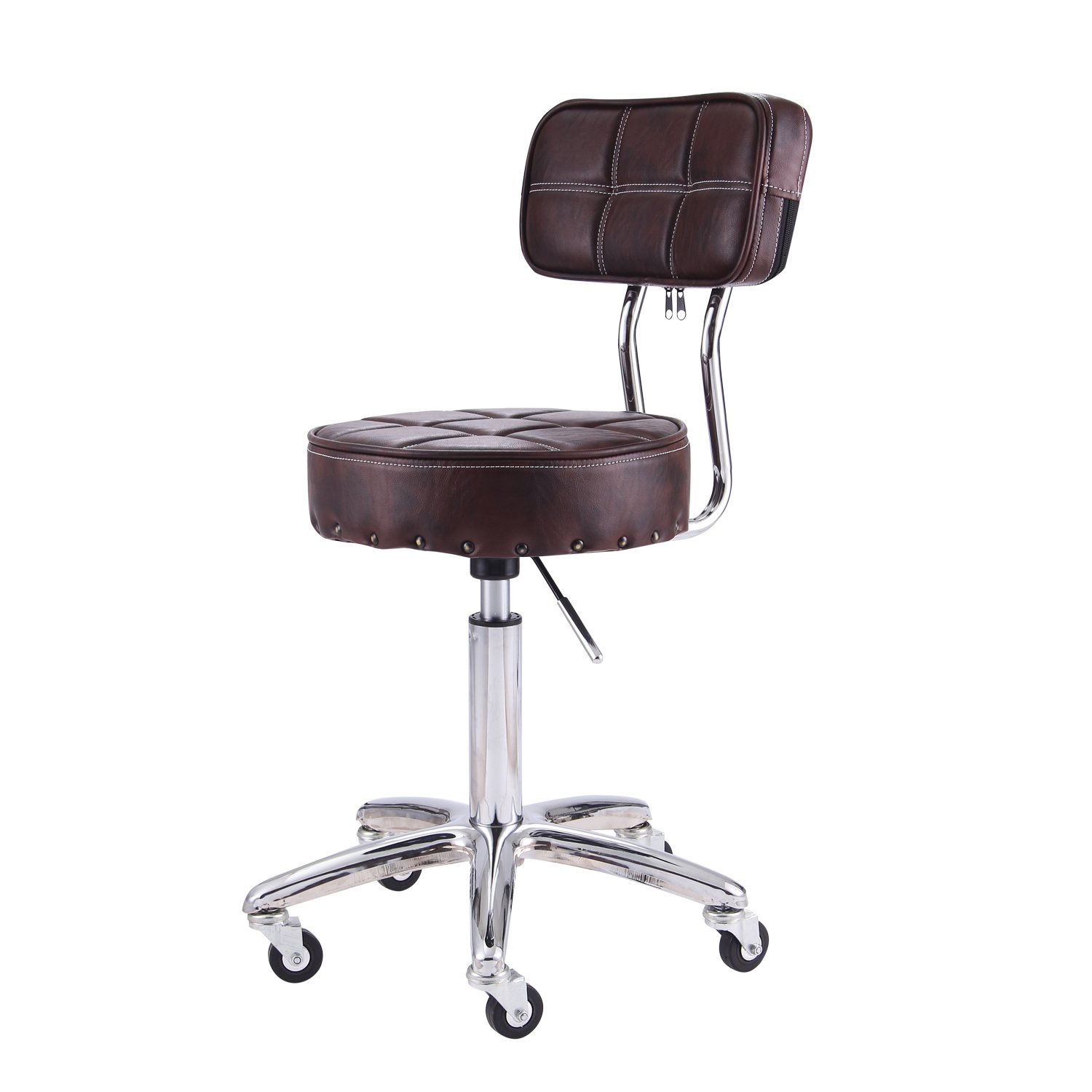 Rfiver 13.2inch Seat Cushion Ergonomic PU Leather Adjustable Rolling Office Work Stool Chair Swivel Home Desk Chairs with Backrest and Chrome Metal Base in Brown SC1003-2