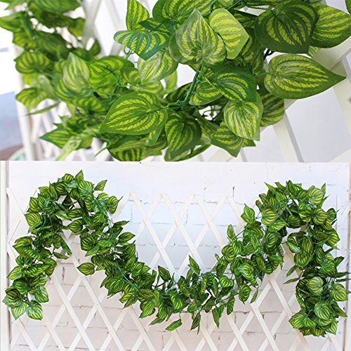 84Ft-12 pcs Artificial Ivy Leaf Garland Fake Plants Flowers Ivy Artificial Hanging Vines Artificial Leaves Garland Fake Ivy Plant leaf Garland Decor for kitchen Wedding Party Garden Outdoor (Vines) by Antspirit