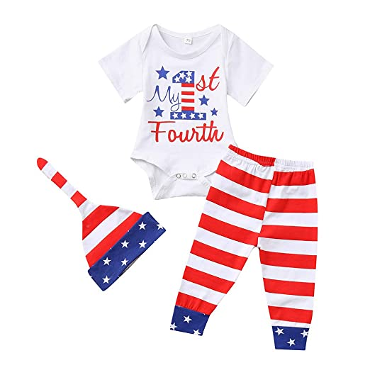Amazon Com Titcool Baby Boys Girls 4th Of July Outfits My First