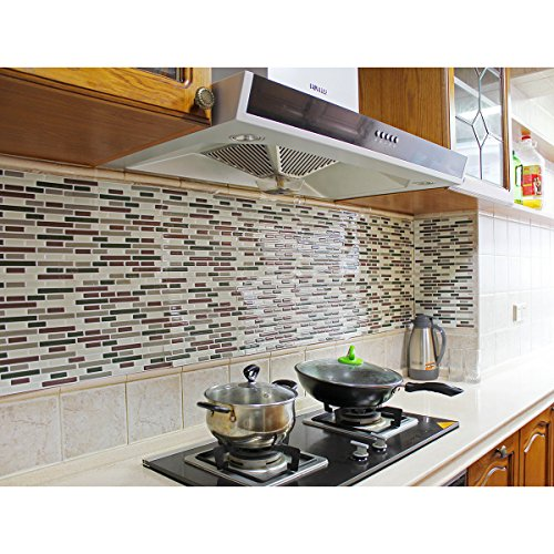 Fancy-fix Vinyl Peel and Stick Decorative Kitchen Backsplash Tiles-pack of 4 Sheets