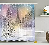 Ambesonne Winter Decorations Shower Curtain, Image of Stormy Winter Day in Paris Streets Eiffel Tower Europe Scene, Fabric Bathroom Decor Set with Hooks, 75 Inches Long, Pink White
