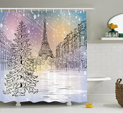 Winter Decorations Shower Curtain by Ambesonne, Image of Stormy Winter Day in Paris Streets Eiffel Tower Europe Scene, Fabric Bathroom Decor Set with Hooks, 84 Inches Extra Long, Pink - Eiffel Christmas Tower Decor
