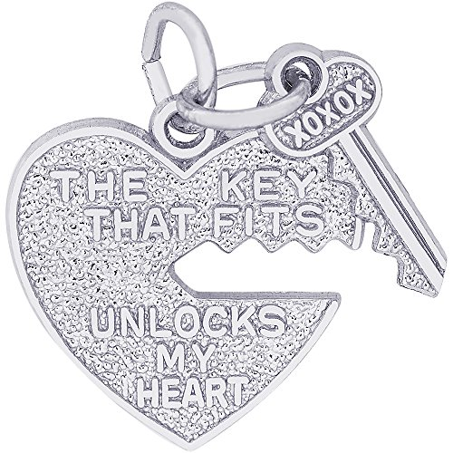 Rembrandt Charms 14K White Gold Heart & Key Charm (0.65 x 0.68 inches) by Rembrandt Charms