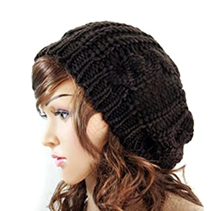 5afe95a647a EUBUY Lady Winter Warm Baggy Beret Chunky Knitted Braided Beanie Hat