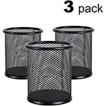 FSlife Mesh Pen Holder Metal Pen Organizer Pencil Cup Medium,Black -Size 3Pack