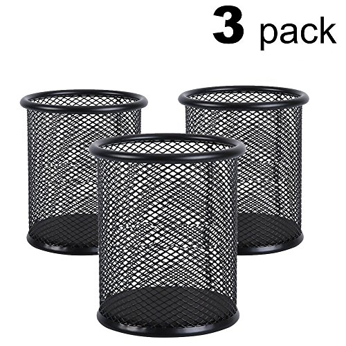 AKAZA Mesh Pen Holder Metal Pen Organizer Pencil Cup Medium,Black -Size 3Pack