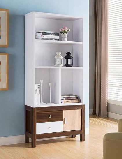 Major Q Modern Contemporary Design 68quot H Wooden Display Bookshelf Diaplay Stand 3 Tone