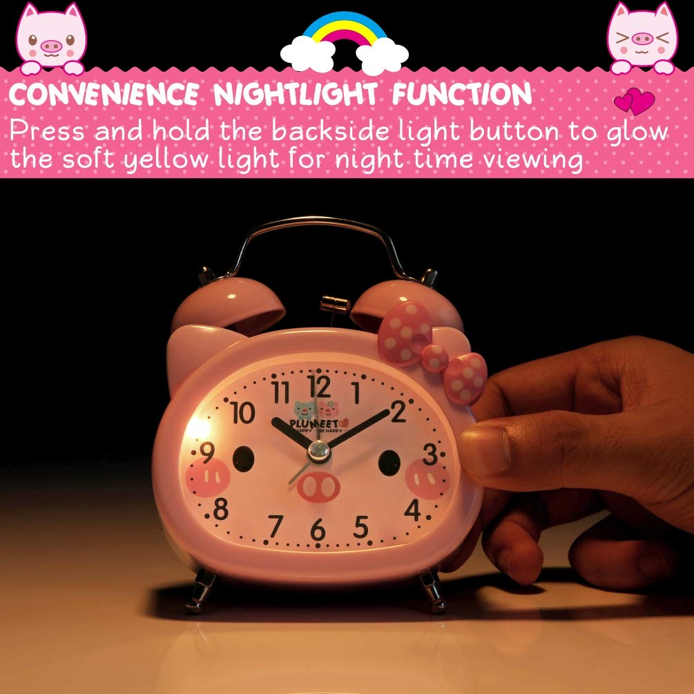 Amazon.com: Plumeet Twin Bell Alarm Clock for Kids, Silent Non-Ticking Cartoon Quartz Loud Alarm Clock for Girls, Cute, Handheld Sized, Backlight, ...