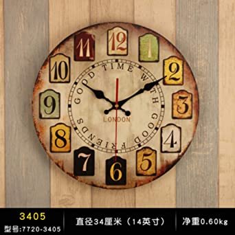 Reloj de Pared con Reloj Vintage, Mesa de la Sala de Estar en casa ...