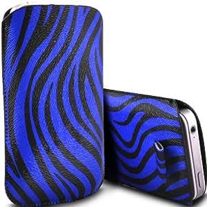 ONX3 Alcatel One Touch Idol 2 Mini S PU Leather Slip cuerda de tracción Zebra protector en la bolsa de la liberación rápida (Azul y Negro)