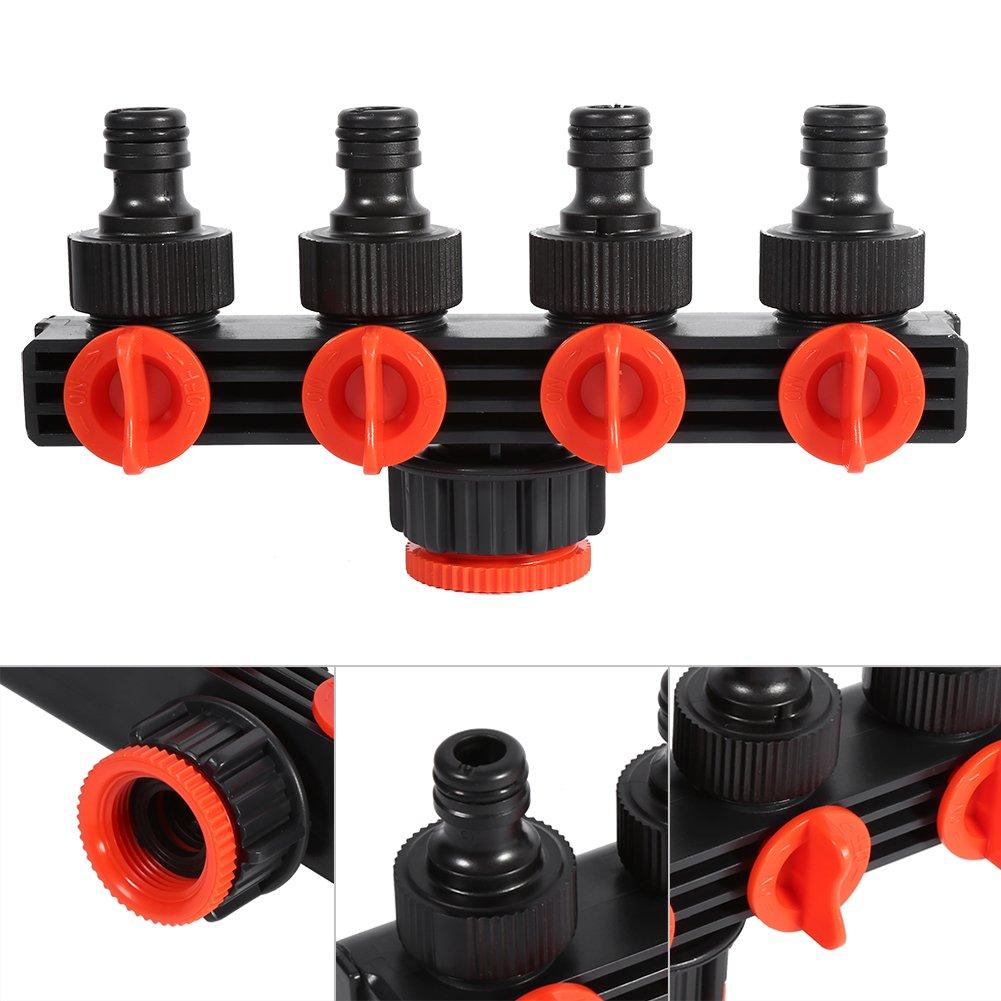 Zerodis 4 Way Hose Splitter Plastic Garden Hose Pipe Connector Adapter Garden Irrigation Watering for Sprinkler Drip Irrigation Outdoor Faucet