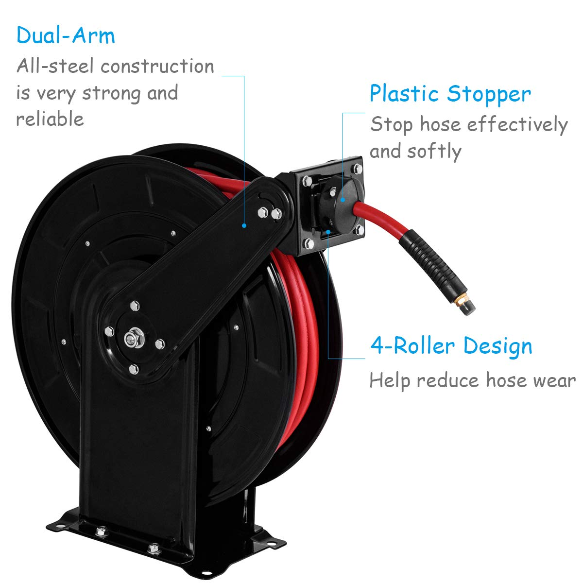 300 PSI Goplus 65 Air Hose Reel with Retractable 3//8 Rubber Hose Auto Rewind Commercial Grade Heavy Duty Steel and High Pressure Max