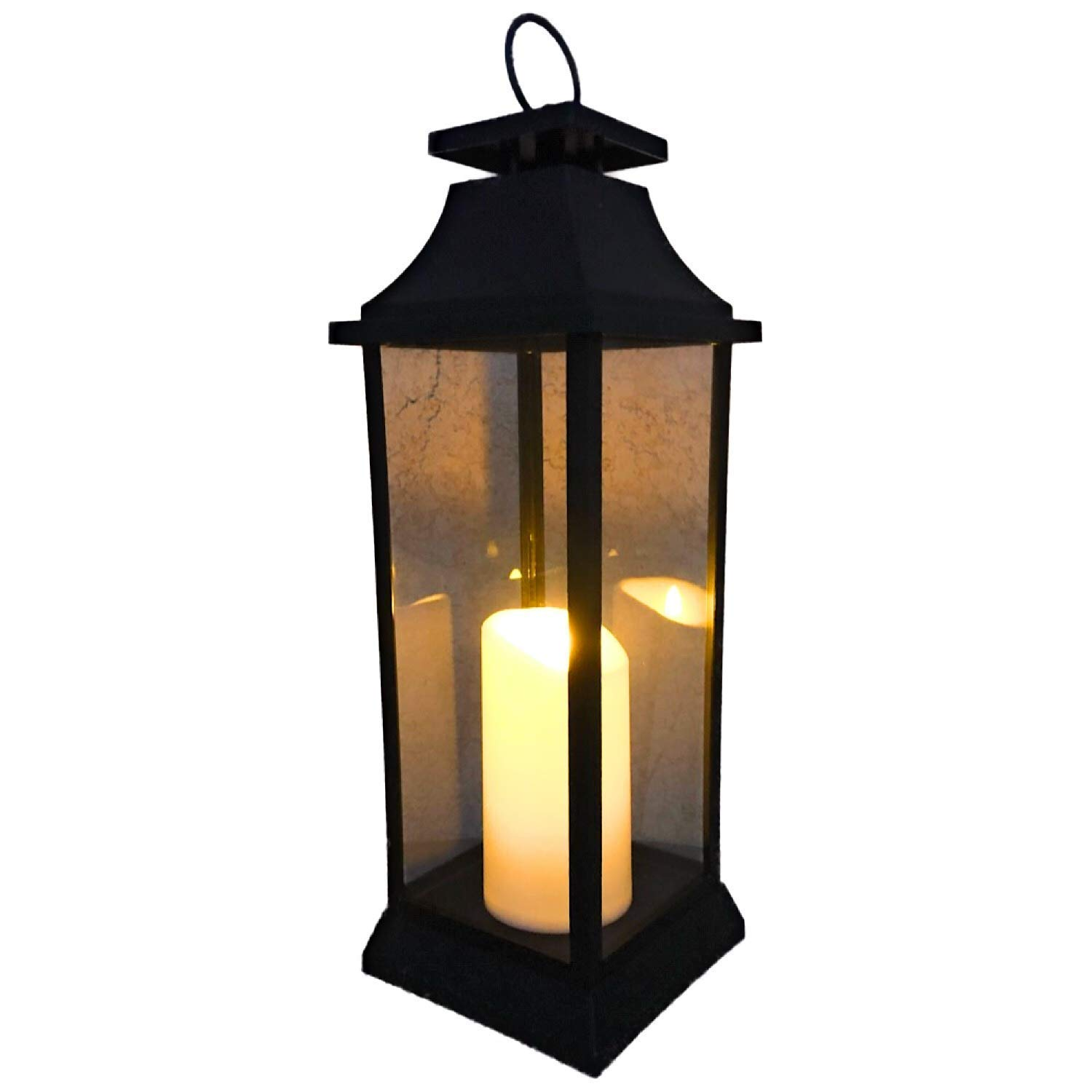 The Nifty Nook 20'' TALL Outdoor Candle Lantern with Flameless LED Lighted Pillar Candle, 5HR Timer, Weather Resistant - Decorative Outdoor Lanterns - Black by The Nifty Nook
