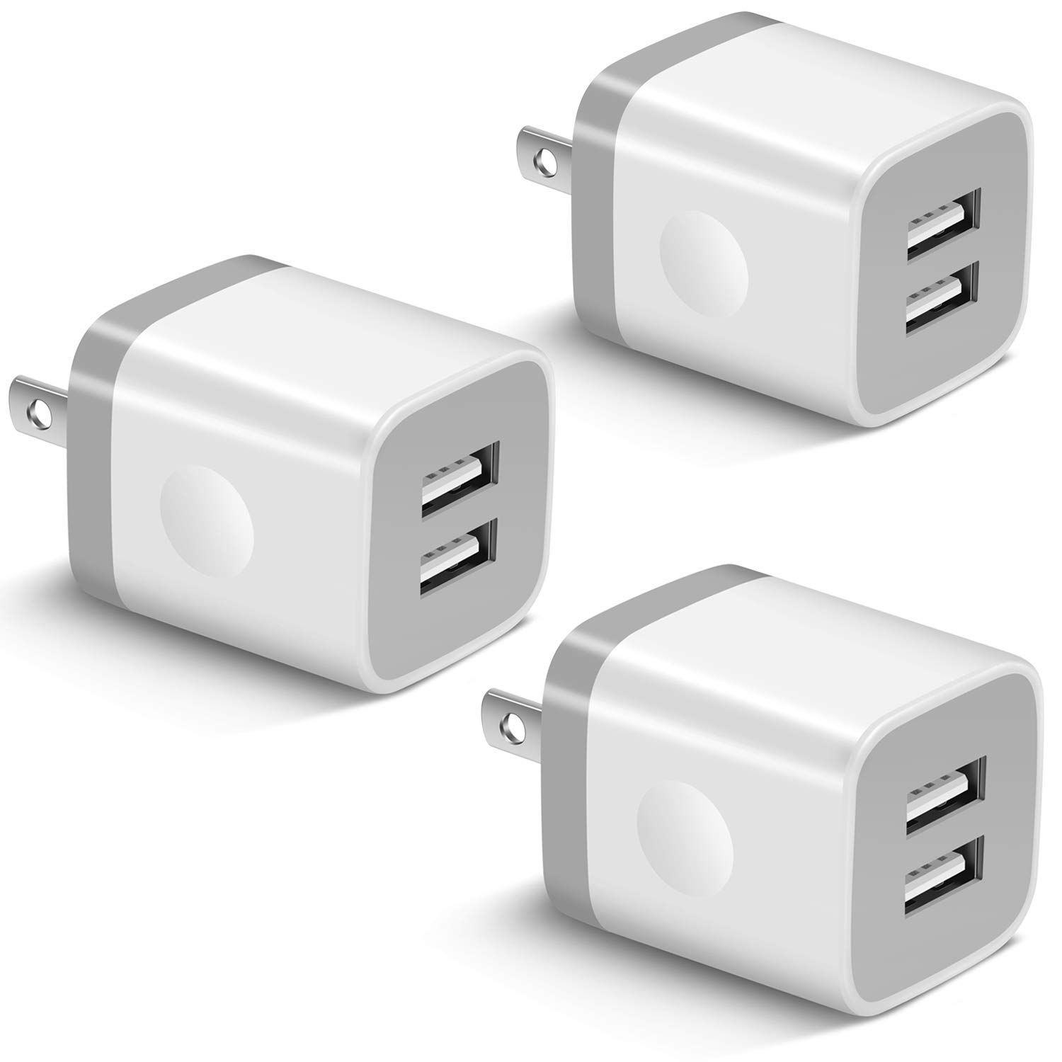 USB Wall Charger, BEST4ONE 3-Pack 2.1A/5V Dual Port USB Plug Power Adapter Charging Block Cube Compatible with iPhone 11 /Pro Max, XR/XS/X 8/7/6 Plus, Samsung, Moto, Kindle, Android Phone -White by BEST4ONE