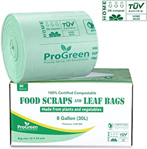 ProGreen 100% Compostable Bags 8 Gallon (30L), Extra Thick 0.85 Mil, 30 Count, Small Kitchen Trash Bags, Food Scraps Yard Waste Bags, ASTM D6400 BPI and TUV Austria Certified.
