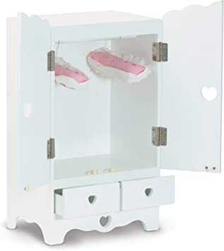 Melissa Doug White Wooden Doll Armoire Closet With 2 Hangers 12 X 20 X 9 Inches