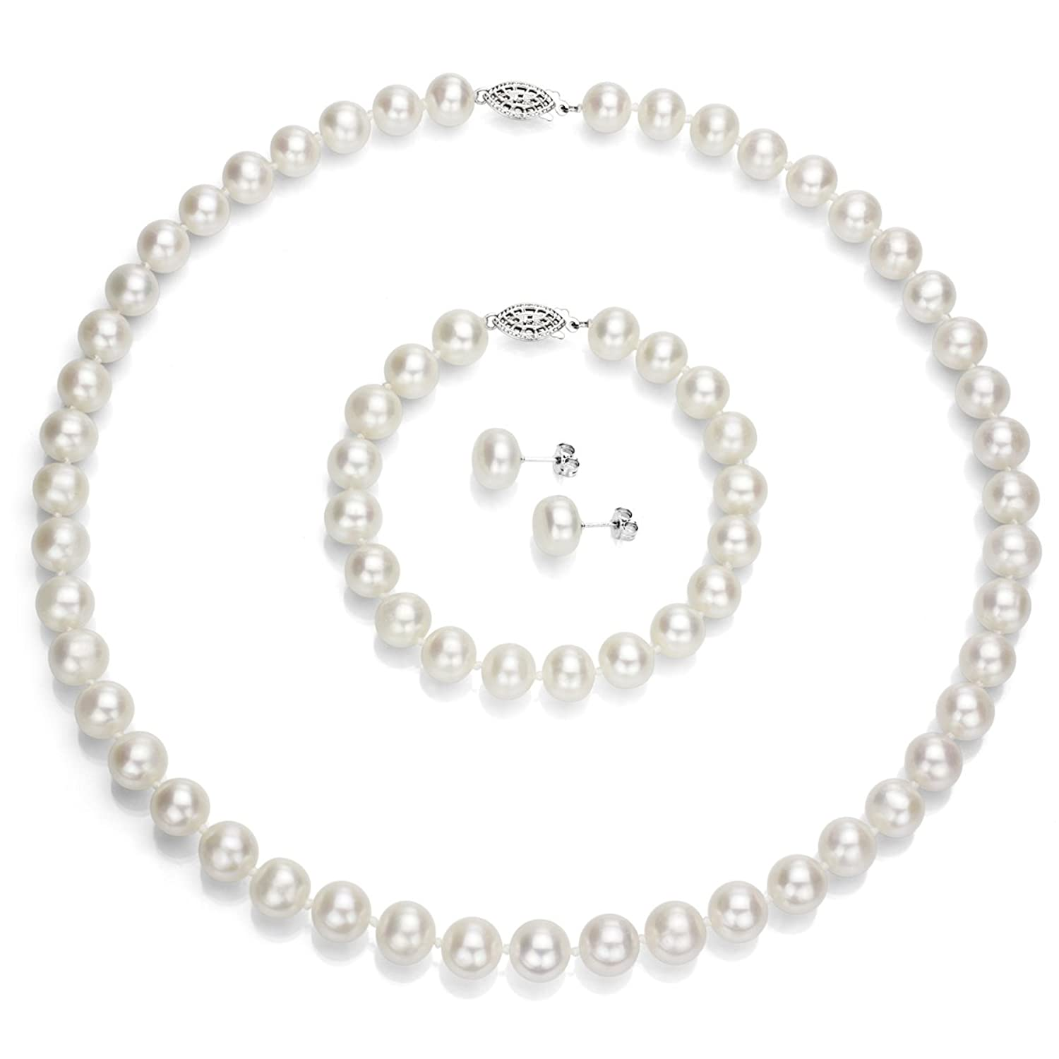 Amazon: Sterling Silver 995mm White Freshwater Cultured Pearl  Necklace 18