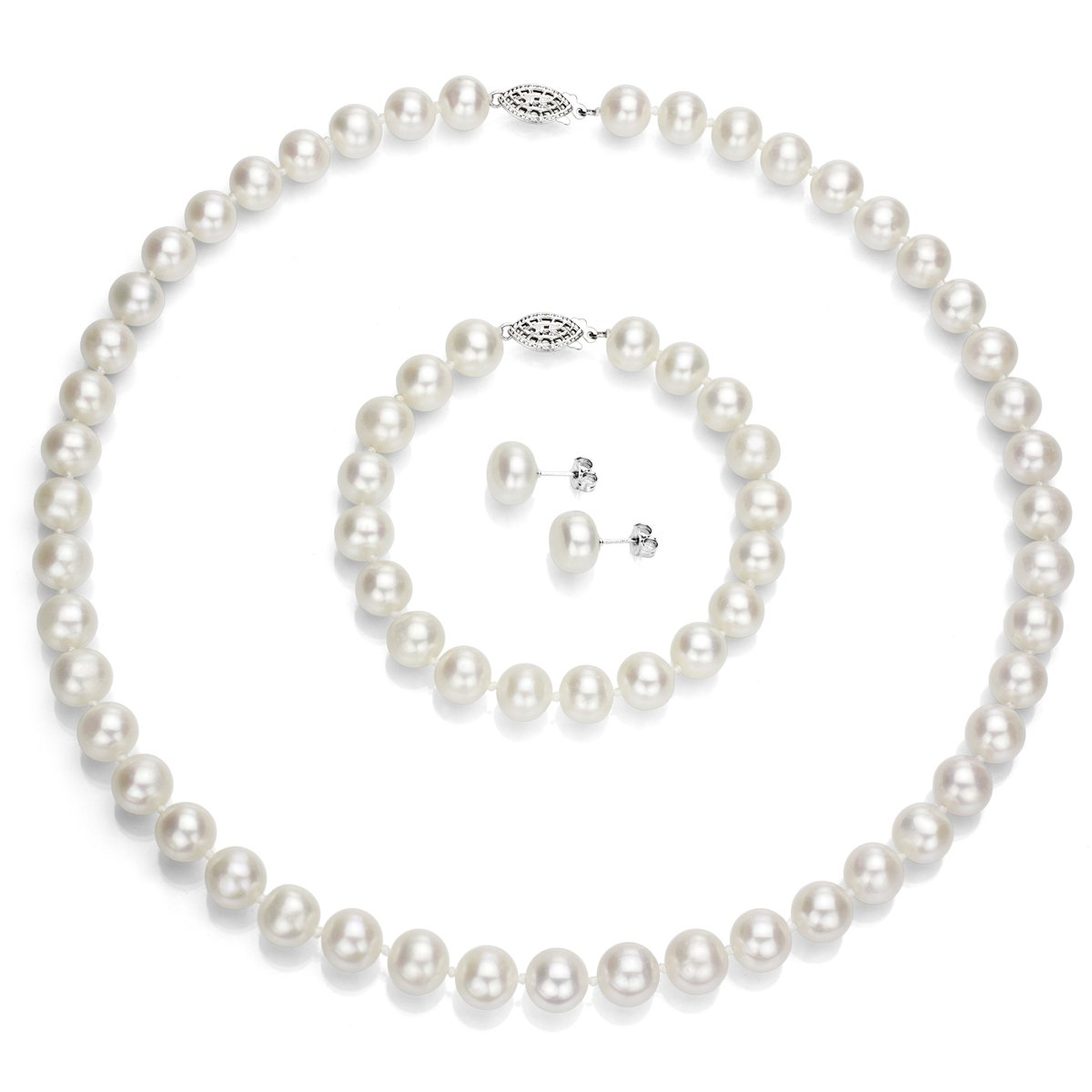 Sterling Silver 9-9.5mm White Freshwater Cultured Pearl Necklace 18'' , Bracelet 7'' and Stud Earrings