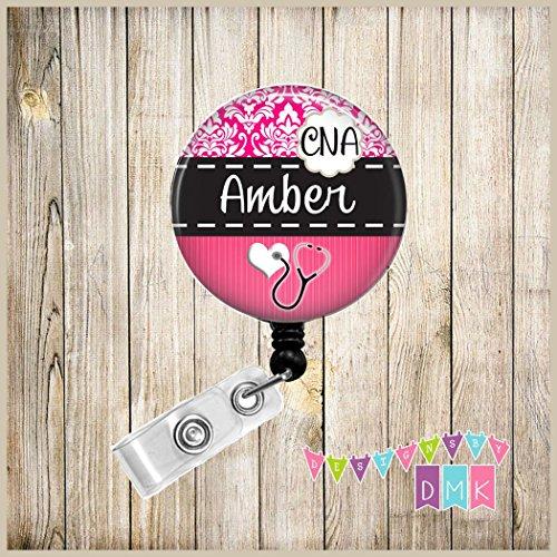 Personalized - Dark Pink Damask - CNA - - Nursing Name Badge Holder