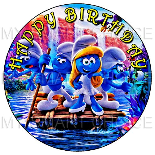 7.5 Inch Edible Cake Toppers - The Smurfs & Smurfette Themed Birthday Party Collection of Edible Cake Decorations (Smurf Cake)